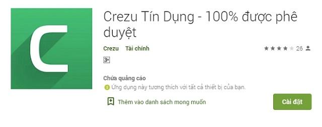 Ứng dụng vay tiền của Crezu trên điện thoại