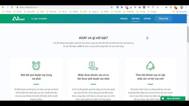 Giao diện trang web Avay đăng ký vay tiền online