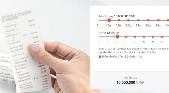 Hình thức vay tiền bằng hóa đơn điện nước